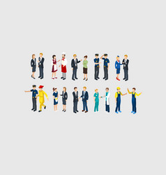 isometric profession characters set vector image