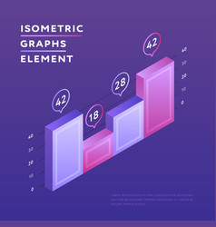 isometric vivid design of graph vector image
