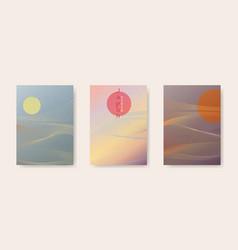 japanese background set cards lines waves pattern vector image