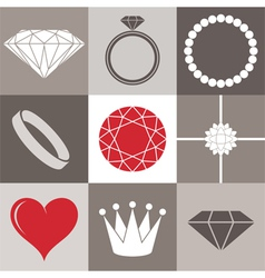 Jewelry collection Icon set vector image