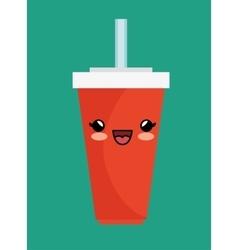 Kawaii cup soda straw cold vector
