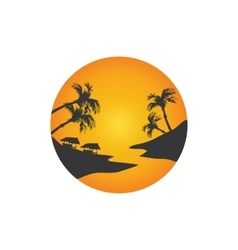 Landscape of beach at the sunrise vector image