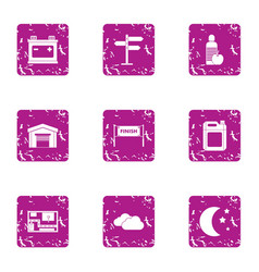 location finish icons set grunge style vector image