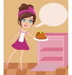 lovely housewife roast chicken vector image