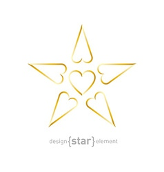 Luxury golden star with hearts on white background vector