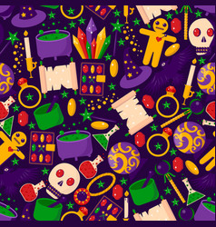 magic stuff seamless pattern banner witchcraft vector image