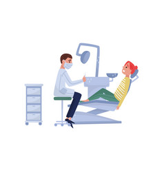 male dentist doctor curing teeth to female patient vector image