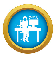 man office accounting icon blue isolated vector image