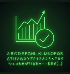 Market growth chart neon light icon vector