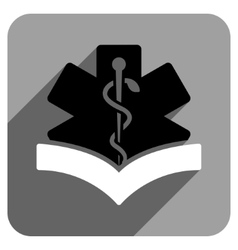 Medical Knowledge Flat Square Icon with Long vector