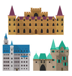 medieval cartoon castle or citadel fort front vector image