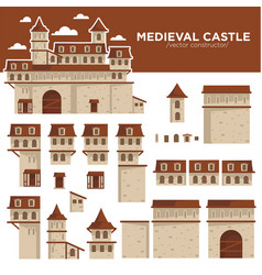 Medieval castle or royal fortress constructor of vector