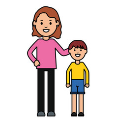 Mother with son characters vector