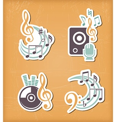 Music design paper cut elements vector