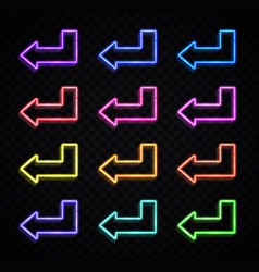 neon 3d arrow pointer set on black background vector image