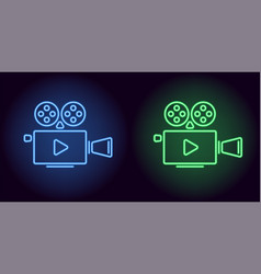 Neon cinema projector in blue and green color vector
