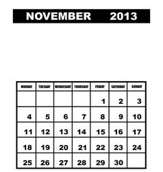 November calendar 2013 vector