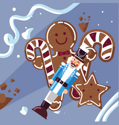 Nutcracker general with cane and cookies vector