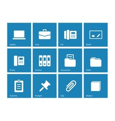 Office icons on blue background vector image