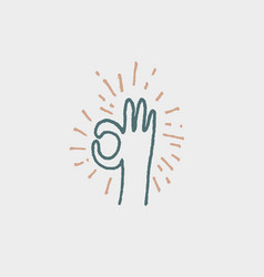okay ok hand gesture hand drawn lined icon doodle vector image
