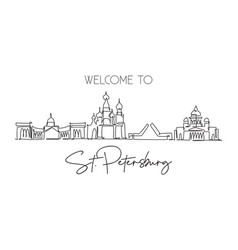 One continuous line drawing st petersburg city vector
