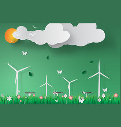 paper art of green wind turbine solar energy vector image
