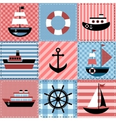 Patchwork with sea transport vector image