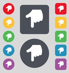 pointing hand icon sign A set of 12 colored vector image