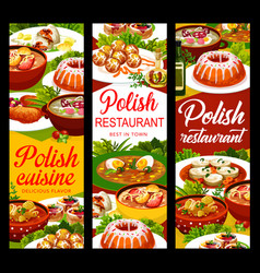 Polish cuisine food banners menu dishes and meals vector
