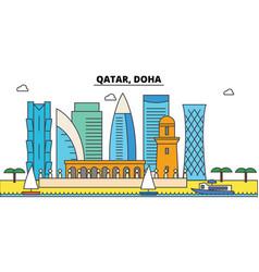 qatar doha outline city skyline linear vector image