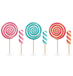 Round pink lollipop set cream marshmallow vector
