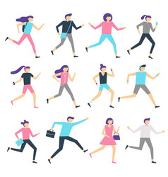 running people man and woman run jogging workout vector image