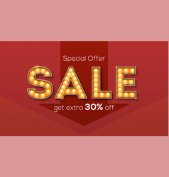 sale and discount retro letters with glowing vector image