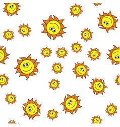 Seamless pattern of suns in cartoon style vector