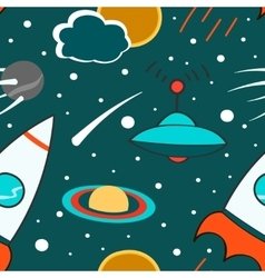 Seamless pattern with outer space rocket comet vector