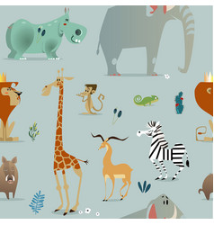seamless pattern with safari animals vector image