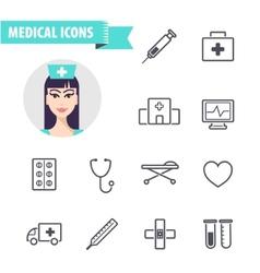 set of line medical vector image