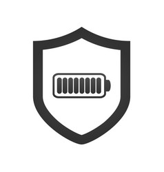 Shield with battery icon template isolated on vector