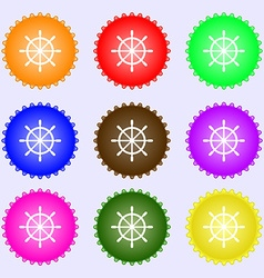 Ship steering wheel icon sign Big set of colorful vector