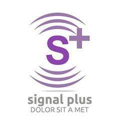 Signal letter s plus purple alphabet wireless vector