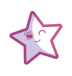 Silhouette kawaii funny and cute star design vector