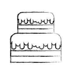 sketch draw te cake cartoon vector image