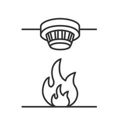 Smoke detector linear icon vector