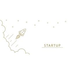Startup rocket gold line horizontal banner concept vector