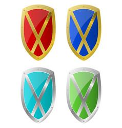 steel shield design vector image