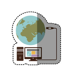 Sticker desktop computer global hosting database vector
