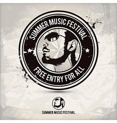 Summer music festival stamp vector
