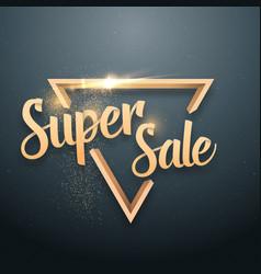 super sale lettering gold glitter effect vector image