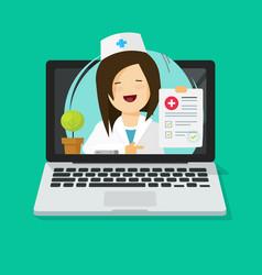 tele-medicine flat cartoon vector image