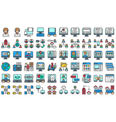 telecommuting or remote work filled icon set vector image